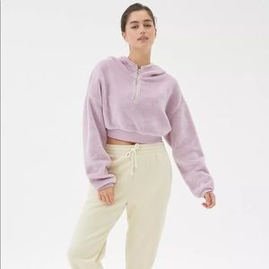 NWT UO Bliss Fuzzy Fleece Lilac Hoodie Sweatshirt